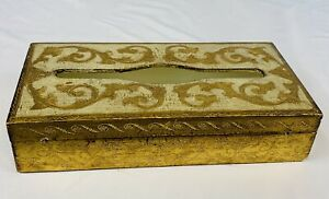 """Vintage Florentia 11"""" Tissue Box Made In Italy Gold Cream Wood Hollywood Regency"""
