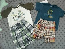 Gymboree 6-12 M Summer Outfits Surf Monkey Shirt JUNGLE Patchwork PLAID Shorts