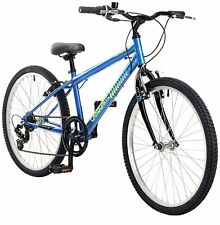 Piranha Carbonite 24 Inch Wheels 14 Inch Steel Frame Hybrid Mountain Bike - Blue