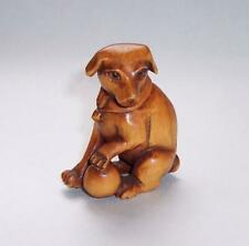 Vintage WOODEN NETSUKE Hand Carved DOG With BALL Glass Eyes - Signed