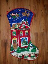 Vintage Jumbo Christmas Stocking Night Before XMAS Quilted Cranston VIP Fabric