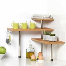 Etagère d'angle en bambou et inox - Cuisine - Salle de bain ou sur un bureau -
