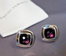 David Yurman 925 Silver Purple Amethyst Lrg 11 mm Albion Earrings & DY Pouch