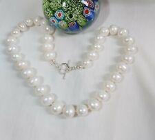 Genuine Silver + 12-14mm egg round freshwater pearl necklace+earrings set white