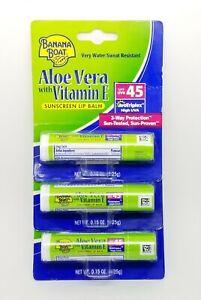 Lot of 3 Banana Boat Aloe Vera With Vitamin E Sunscreen Lip Balm Spf 45