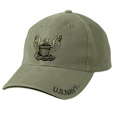 US Navy Embroidered Ball Cap Low Profile Hat Vet Olive Drab USN Veteran OD Green