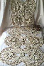 Spectacular Set Of 4 Antique Handmade Crochet Lace Runners Doilies Very Old Mint