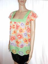 NEXT Woman Retro Cotton Floral Hippy Boho Embroider Casual Blouse Top sz 10 AI88
