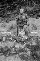 WWII B&W Photo Wehrmacht Soldier Pays Respects At German Graves WW2 /2355