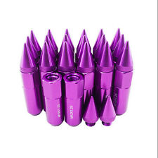 20pcs Purple Aluminium Alloy Extended Wheel Lug Nuts with Spike 30mm ,M12x1.25
