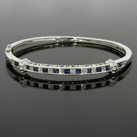 6ct Princess Cut Sapphire & Diamond 14K White Gold Over Women's Bangle Bracelet