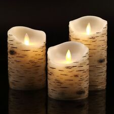 3 Pcs Flameless Birch LED Candles Moving Luminara Real Wax Battery Remote Timer