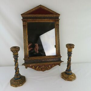 Antique Italian Giltwood Vanity Mirror and Candlesticks Blue Accents Carved Wood
