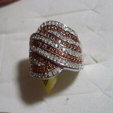 CLEARANCE***Red & White Diamond Cocktail Ring Sz 6  94 diamnd .60CT  MSRP$1019