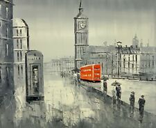 London- Big Ben Red Bus Oil Painting