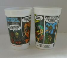 VINTAGE 1980's He-Man Masters of the Universe MOTU Burger King Pepsi Cups (2)