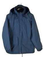 LL Bean Womens Hooded Parka Jacket Blue Winter Rain Coat Thinsulate M Medium