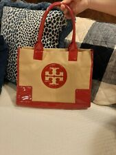 Tory Burch Straw Ella Large Tote Bag Samurai Red / Natural