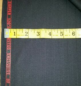 Super 120'S  English wool suit fabric 5 Yards  Black Sripe  wool suiting fabric
