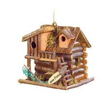 HOME GARDEN DECOR GONE FISHIN' LOG CABIN BIRD HOUSE BIRDHOUSE WOOD