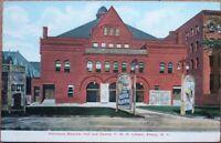 Albany, NY 1907 Postcard: Harmanus Bleecker Hall/Theatre & YMA Library- New York