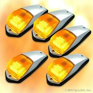 5 pcs Amber Chrome 31 LED Cab Marker Lights fits Peterbilt Kenworth Freightliner