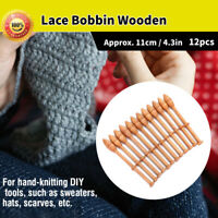 12Pcs/Set Wood Knitting Needle Lace Bobbin Wooden Tool for Scarf Sweater DIY