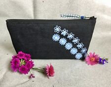 Cosmetic Bag Storage Make Up Pencil Pen Case, made from Denim.  Back to school