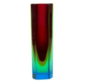 Vintage Very Unusual 5 Colour Art Glass Submerged Block Faceted Vase 19.3cm