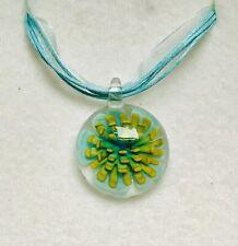 Stunning Turquoise Blue Murano Glass Heart Pendant On A  Ribbon & Flower.-)