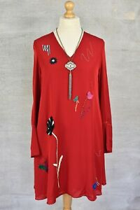 PAUL SMITH Red embroidered v-neck silk blend shift dress 44 12