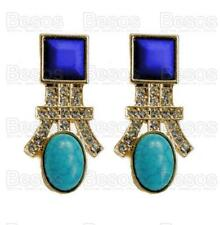 TURQUOISE BLUE&GOLD fashion EARRINGS art deco REVIVAL vintage RHINESTONE UK GIFT