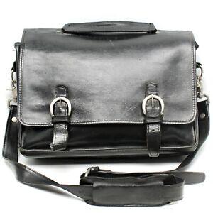 Village Tannery Sevestet Messenger Bag Black Leather Double Buckle Strap Flap