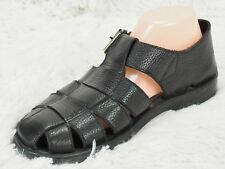 TOMMY BAHAMA FISHERMEN SANDALS MEN US 9 BLACK LEATHER MADE IN ITALY Buckle