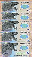 LOT, Beringia B.C., 5 x 5,000,000 (5000000), 2013, Polymer, UNC > Velociraptor