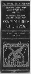 VINTAGE MATCHBOOK COVER FRATERNAL ORDER of EAGELS NEW CASTLE , IND 3 Digit Ph. #