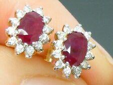 9ct Gold Ruby & Diamond Stunning cluster Earrings