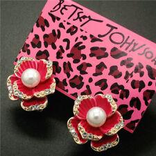 New Betsey Johnson Fashion Rose camellia flower Rhinestone girl Women's Earring