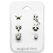 Stainless Steel Assorted Lizard Star Cross Fleur De Lis Women Stud Earring 2775
