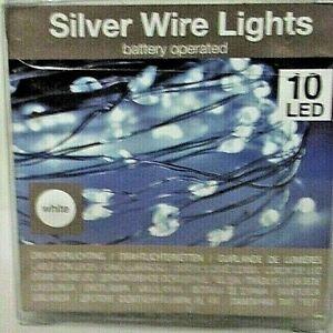 10 er LED Mikro Lichter Draht 90 cm Batterie inclusive  silver wire Lights  89