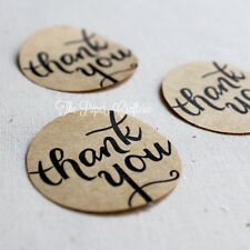 THANK YOU STICKERS Kraft Brown Round Labels Seals Bomboniere Gift Favours 60 pcs