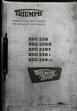 **Oldtimer** Motorrad Triumph BDG 250 Kundendienst-Mitteilungen