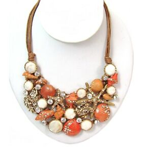 ST THOMAS Genuine Sea Shell Necklace Orange Rhinestone Gold Nautical Statement