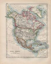 1902 Victoriano Mapa ~ América del Norte Estados Unidos México Dominio de Canadá