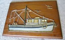 ASSEMBLAGE ART WATCH PIECES/PARTS- FISHING TRAWLER ON WOOD FRAME- NAUTICAL ART