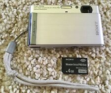 SONY Cybershot DSC-T90 12.1MP Digital Camera Silver w/ 4GB Card (No Battery)