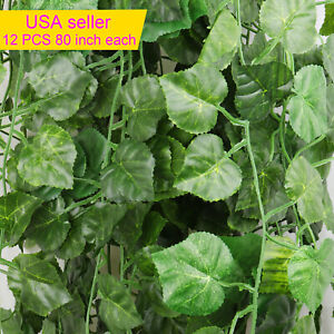 12 PCS Artificial Ivy Leaf Plants Vine Hanging Garland Fake Flowers Home Decor