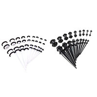 36Pcs Gauges Kit Tapers Tunnels Plug Ear Lobe Piercing Stretching Expanders