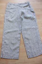 BODEN brown striped 100% linen crop trousers size 10R  NEW. side zip