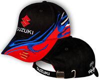 Suzuki Black Red Baseball Cap Embroidered Auto Motorcycle Logo Hat Mens Womens
